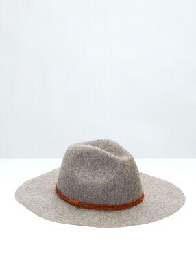 Chapeau en laine gris clair.