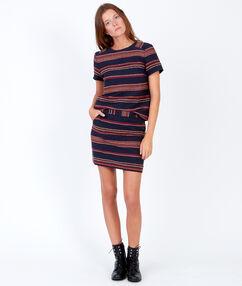Stripe short sleeve top purple blue.