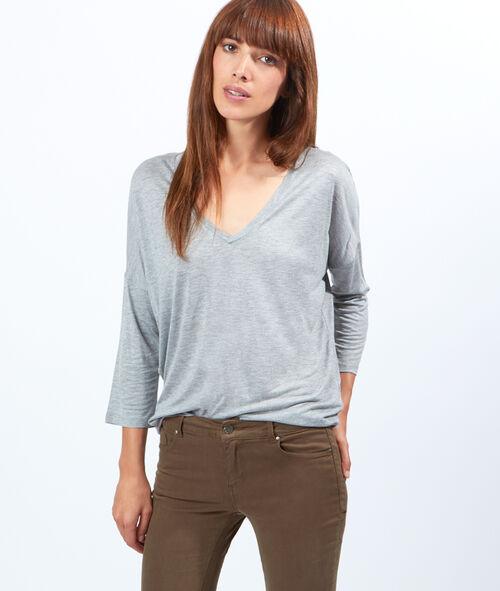 T-shirt manches longues col V, coton et modal