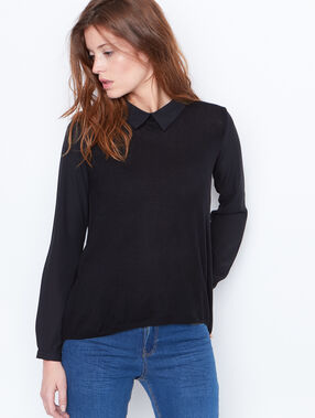 Fine sweater with collar black.