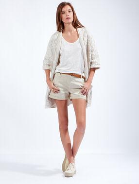 Short en coton beige.