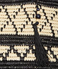 Cabas en raphia à pompons noir/naturel.