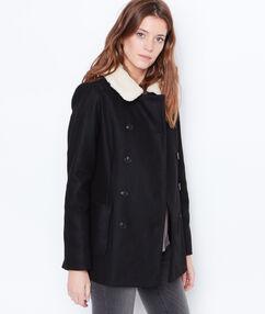 Manteau 3/4 à col effet mouton noir.