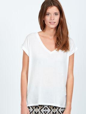 T-shirt fluide col v blanc.