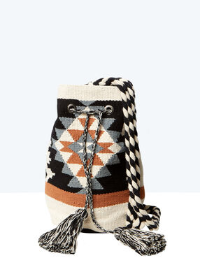 Aztec print bucket bag white/brown/grey.