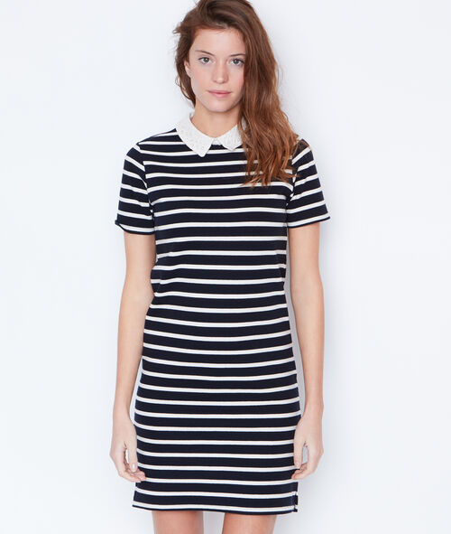 Striped dress with Peter Pan collar