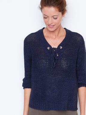 V-neck sweater navy.