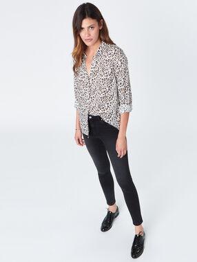 Chemise ample imprimé léopard ecru.