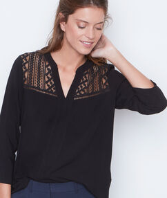 3/4 sleeve blouse black.