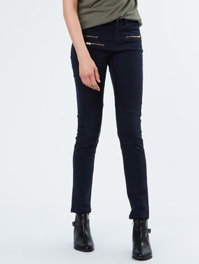 Cotton slim pants navy.