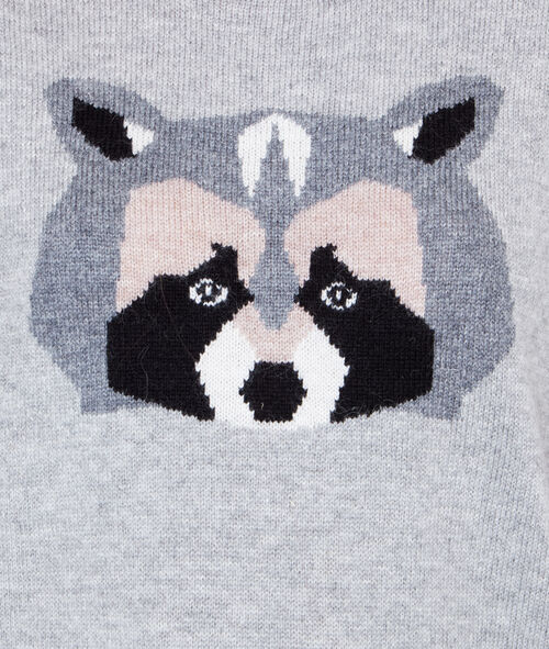 Wool sweater with raccoon