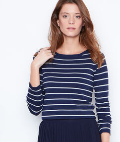 Striped jumper with slash neck navy.