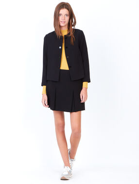Collarless tailored jacket black.