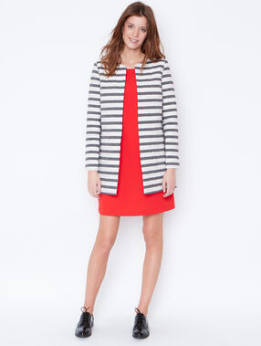 Striped jacquard coat white.