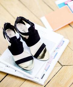 Sandales effet daim, sandales dorées noir.