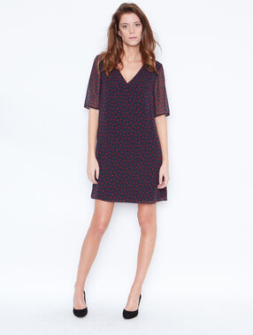 Heart print dress navy.