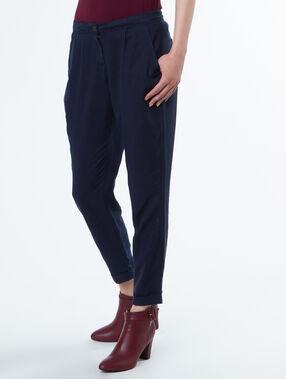 Pantalon fluide carotte bleu marine.