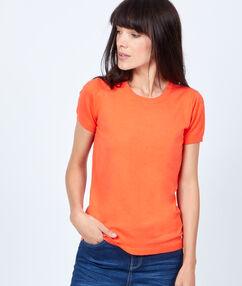 T-shirt manches courtes en coton uni corail.