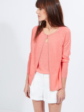 Linen cardigan coral.