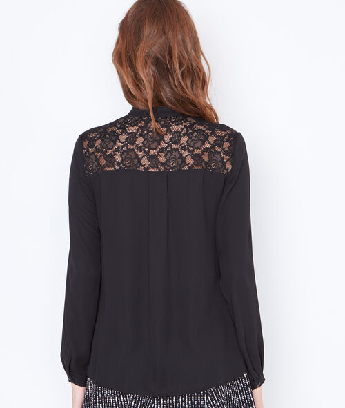 Tie neck blouse with lace detail