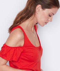 Top épaules dénudées détail dentelle rouge.