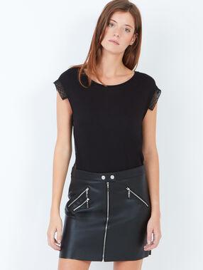 Jupe droite zippée, effet cuir noir.