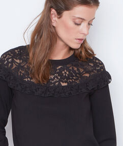 Lace sweatshirt black.