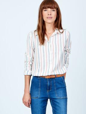 Chemise rayée en tencel blanc.