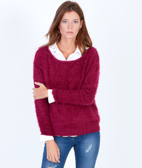 Fluffy knit jumper with slash neck
