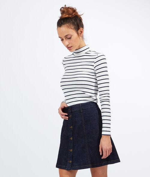 Jupe trapèze en jean boutonnée