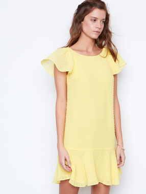 Plumetis flowing dress yellow.