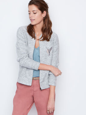 Embroidered jacket grey.