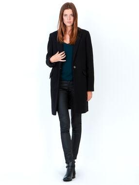 Manteau en laine à col tailleur noir.