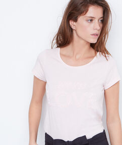 Camiseta manga corta con lentejuelas nude.