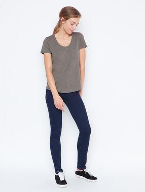 T-shirt col rond en coton kaki.
