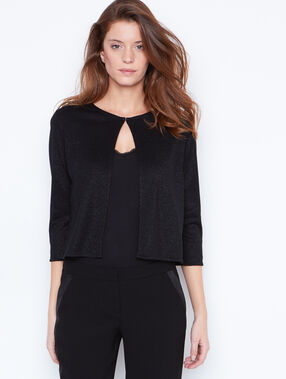 Knit bolero in lurex black.