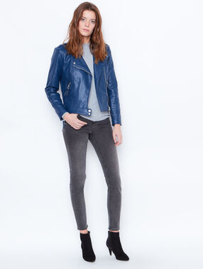 Biker jacket in faux leather blue.