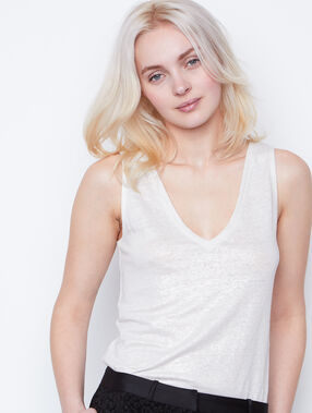 Sleeveless linen top white.