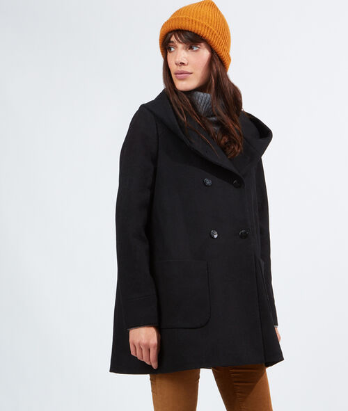 Manteau évasé en laine à capuche