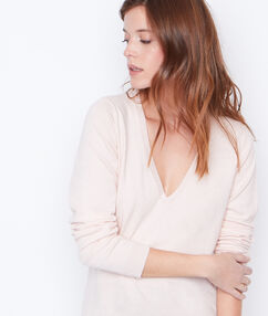 Cotton cashmere v-neck sweater beige.