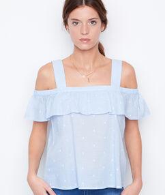 Top épaules dénudées bleu.