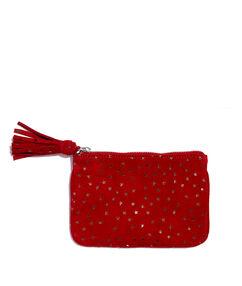 Pochette en cuir à étoiles rouge.