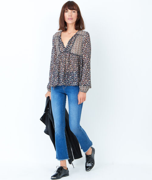 Floral printed fluid blouse