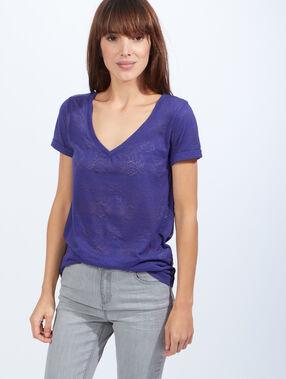 T-shirt col v maille flammée violet.