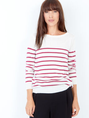 Pull en maille à rayures, style marinière prune.