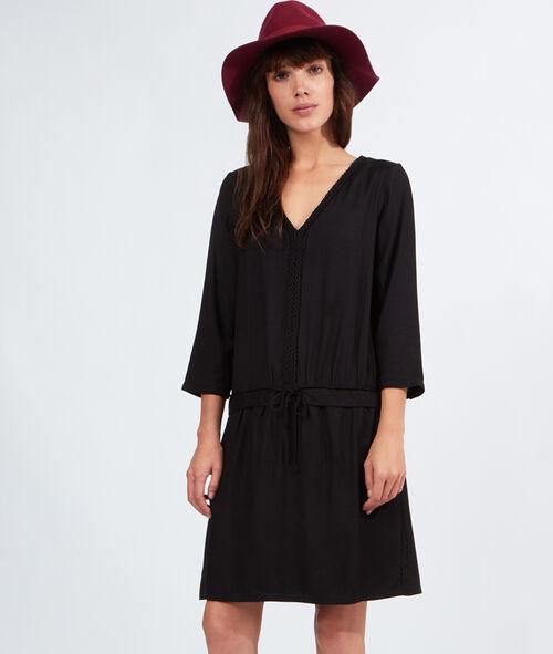 Robe blouse lien taille, encolure tressée
