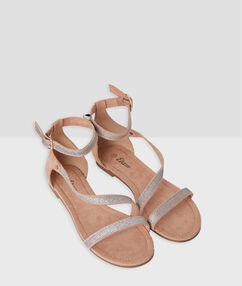 Sandales pailletées blush.