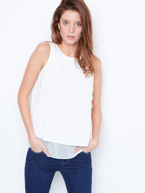 Tie back top with lace details white.