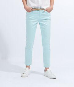 Pantalon slim en coton avec ceinture acqua.