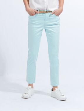 Cotton pants with belt blue.